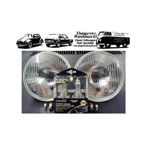 "Triumph TR6 TR7 TR8 7"" Sealed Beam Halogen Conversion Headlights & Xenon Upgrade"