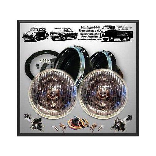 "MG Midget Classic Domed 7"" Sealed Beam Halogen Conversion Headlight Pro Kit"
