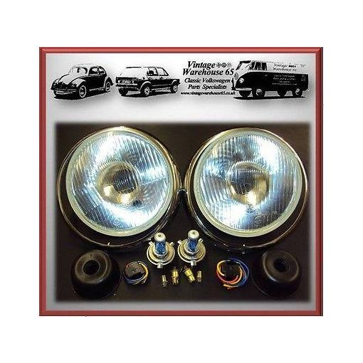 Austin Mini Xenon Halogen Headlight Sealed Beam Conversion Upgrade Kit With Trim