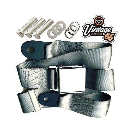Vintage Classic Car 3 Point Static Front Rear Chrome Buckle Seat Lap Belt Grey