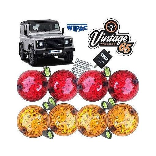 Land Rover Defender LED Upgrade Indicator Stop Tail Brake Light Set Wipac 73mm