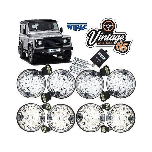Land Rover Defender Clear Lense LED Indicator Stop Brake Light Set Wipac 73mm