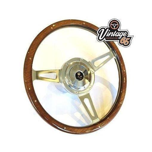 "Classic Austin Mini Cooper 13"" Polished Woodrim Steering Wheel Boss Horn Kit"