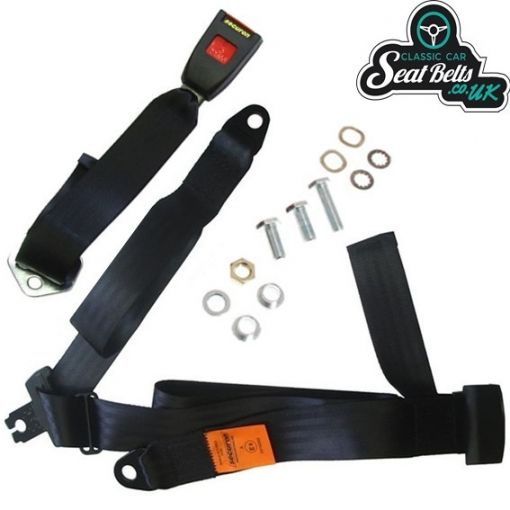 Three Point Static Rear Seat Belt Kit 45cm Adjustable Buckle