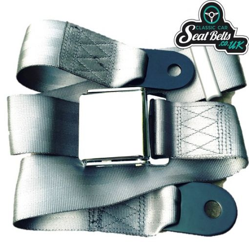 Two Point Static Lap Belt Kit 45cm Adjustable Chrome Buckle