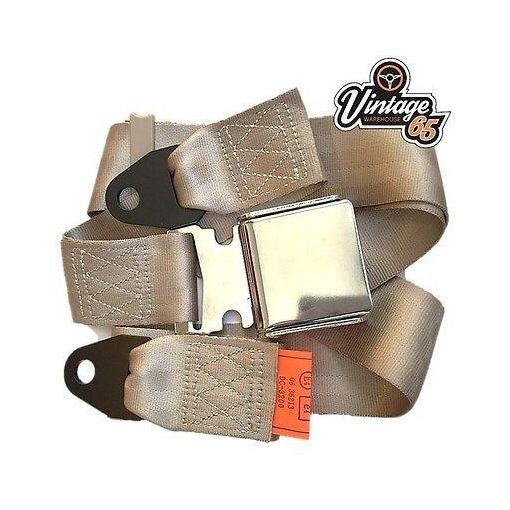 Jaguar E type Classic Beige Chrome Buckle Lap Seat Belt Static Adjustable