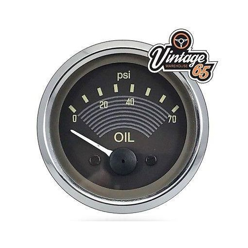 VW Splitscreen Camper T2 OE Style Oil Pressure Gauge Smiths 52mm Retro Brown 12V