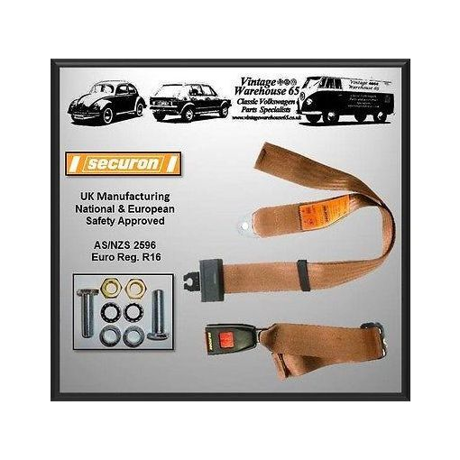 Vintage Warehouse Static Rear 2 Point Lap Belt Seat Belt Kit Beige