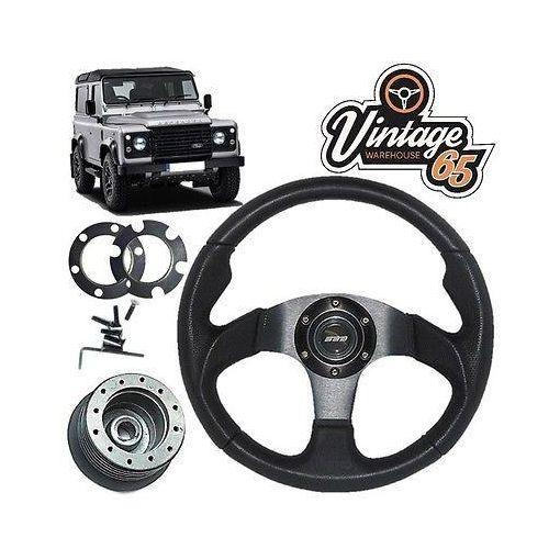 Land Rover Defender Black Motorsport Steering Wheel 36 Spline Boss Kit Horn
