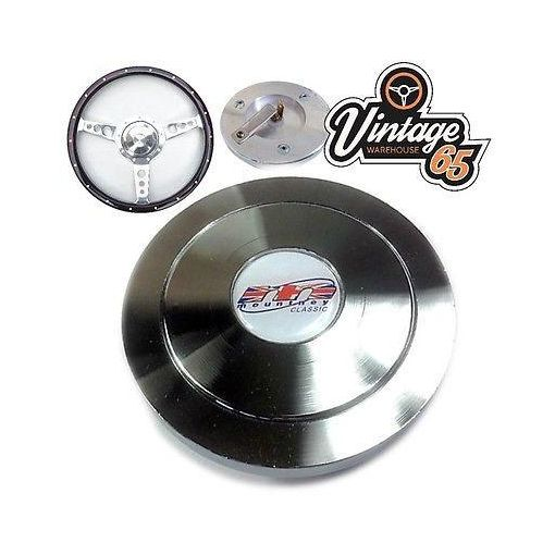 Classic Car Steering Wheel Boss Horn Push Center Button Ring Spun Chrome Metal