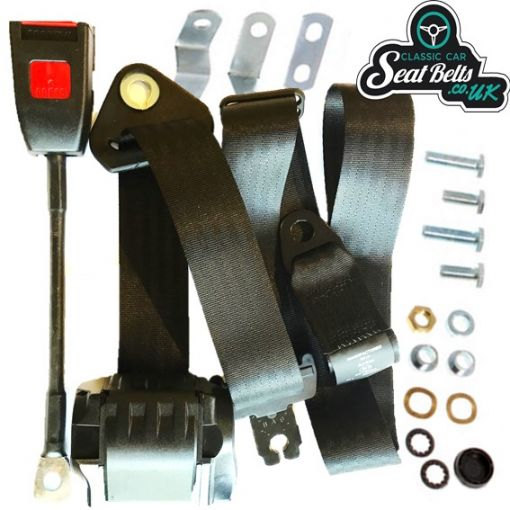 Three Point Fully Automatic Front Seat Belt Kit 30cm Buckle