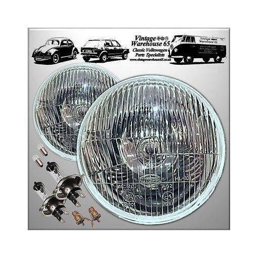 "Vintage Warehouse 5 & 3/4"" H4 Halogen Conversion Headlights Head Lamps + Pilot"