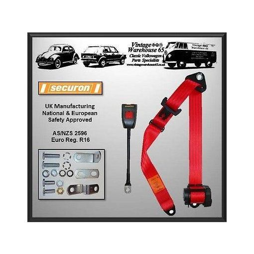 Vw Transporter T2 Camper Van Front Rear 3 Point Automatic Inertia Red Seat Belt