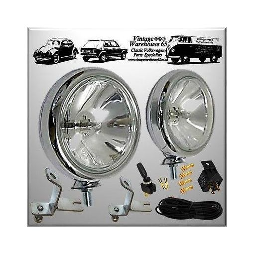Austin Mini Clubman Chrome Spot Light Fog Lamps With Brackets & Wiring Kit
