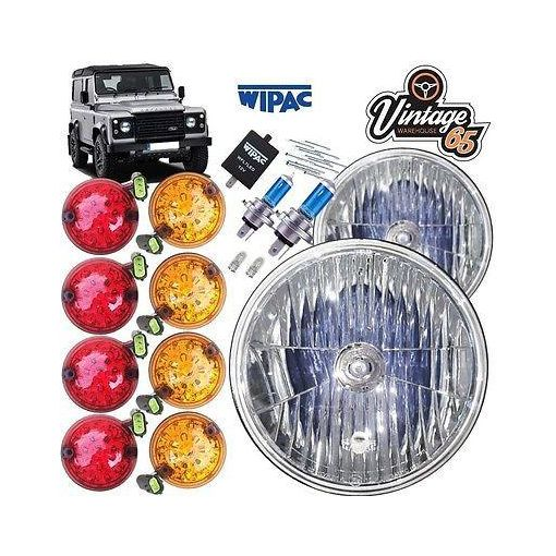 Land Rover Defender Complete Crystal Headlight & 8pc LED Light Upgrade Kit Wipac