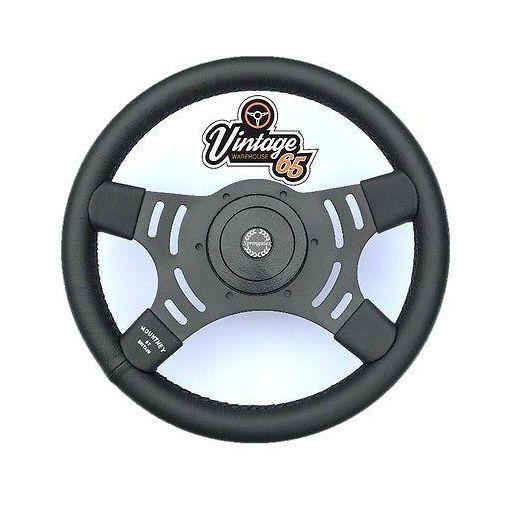 "Vintage Warehouse Retro Black Semi Dished 14"" Steering Wheel & Boss Fitting Kit"