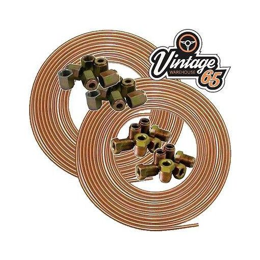 COPPER BRAKE PIPE SEAMLESS 2 ROLLS 25FT 3/16 4.76MM 10 EACH NUTS FEMALE & MALE
