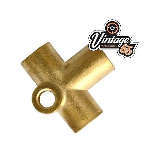 "Brass Brake Pipe Fitting 3/8"" UNF x 24 Tpi Female 3 Way T-piece For 3/16"" Pipe"