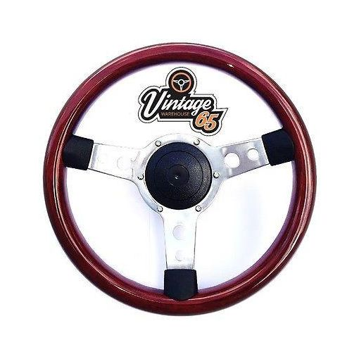 "Classic Mini 13.5"" Retro Polished Solid Wood Rim Steering Wheel Boss Fitting Kit"