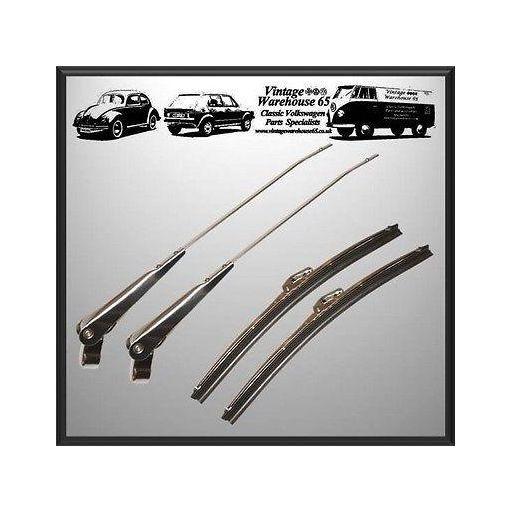 "Austin Mini Classic Mk1 Mk2 11"" Stainless Steel Wiper Blades & Wiper Arm Set"