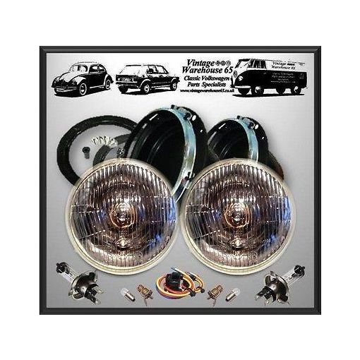 "Ford Escort Mk2 Classic Domed 7"" Sealed Beam Halogen Conversion Headlight Kit 1"