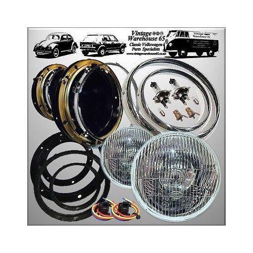 "Willys Jeep CJ3B LHD Headlight Kit 7"" Domed Glass + Pilot Chrome Rings & Wiring"