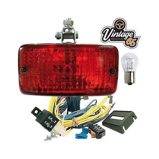 Car Van Camper Import E Approved Rectangle Rear Mount Red Fog Lamp Light Kit