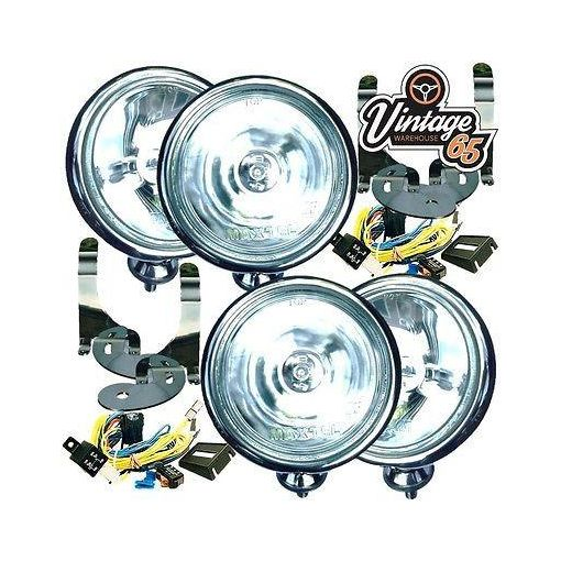 "4x 5"" BMW MINI CHROME SPOT/DRIVING LAMPS/LIGHTS KIT WITH BRACKETS & WIRING"