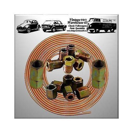 """Porsche 911 25ft 3/16"""" Copper Brake Pipe Male Female Nuts Joiner Tube Joint Kit"""