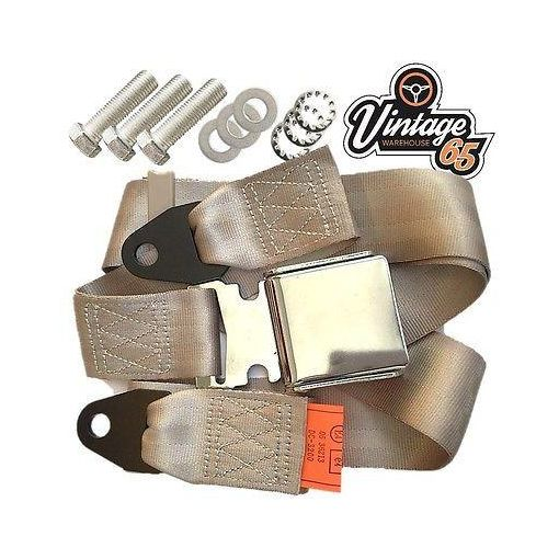 Vintage Classic Car 3 Point Static Front Rear Chrome Buckle Seat Lap Belt Beige