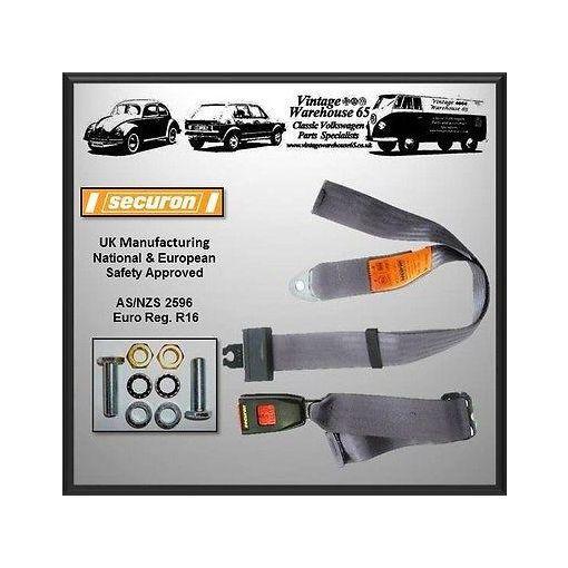 Vintage Warehouse Static Rear 2 Point Lap Belt Seat Belt Kit Grey