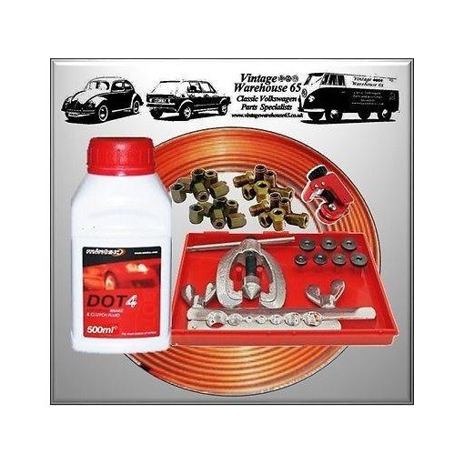 """Vintage Warehouse Copper Brake Pipe Tube Flarer 3/8"""" Repair Kit & Brake Fluid"""