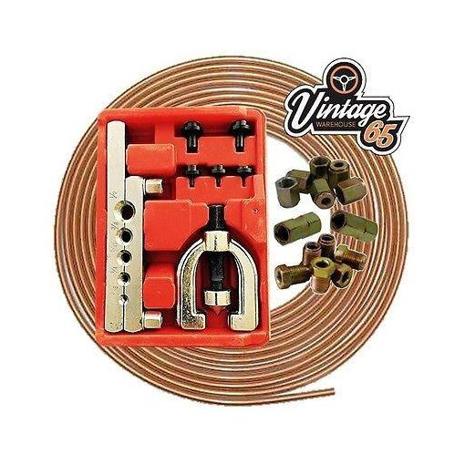 Vw Classic Classic Copper Brake Pipe Line Repair Flaring Tool Kit Nuts Ends
