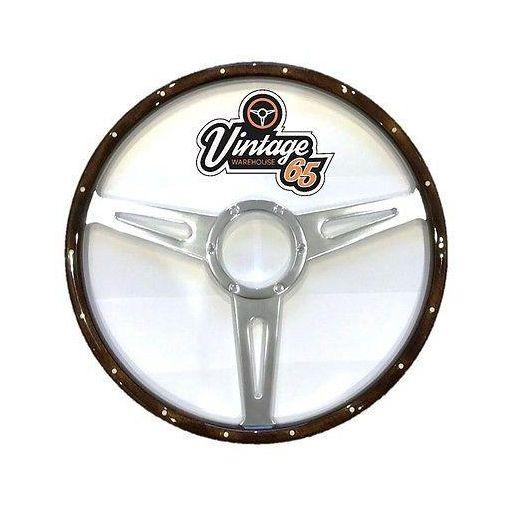 """Classic Car Van Camper 17"""" Dark Wood Rim Flat Polished Slotted Steering Wheel"""