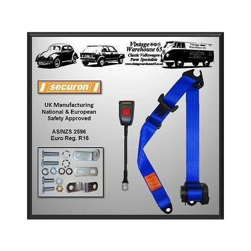 Ford Escort Mk1 1968-75 Front Automatic Inertia Seat Belt Kit Blue 'E' Approved