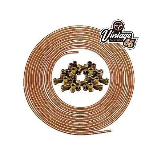 "**LAND ROVER** 3/16"" X 25 FT SOFT 22G COPPER BRAKE PIPE + 20 MALE NUTS 10MM"