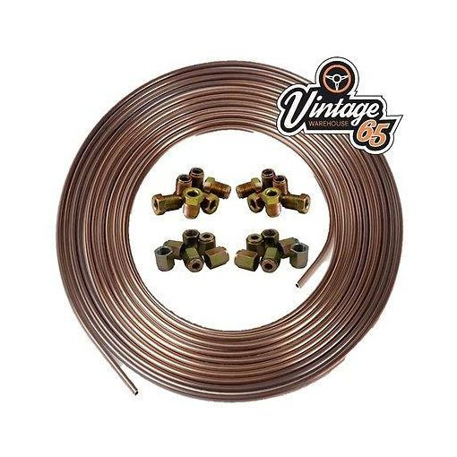 "Copper Nickel Kunifer Brake Pipe 25ft 3/16"" 12 Metric Male & 12 Female Ends"