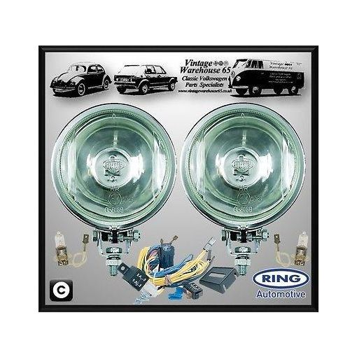 Ford Cortina Mk1 Classic Ring Chrome Driving Lights Spot Lamps With Wiring Kit