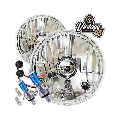 "Triumph Dolomite 5 & 3/4"" H4 Halogen Conversion Headlights Lamps + Sidelights"